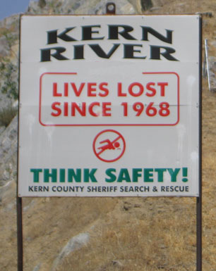 Kern River Lives Lost Since 1968 Sign