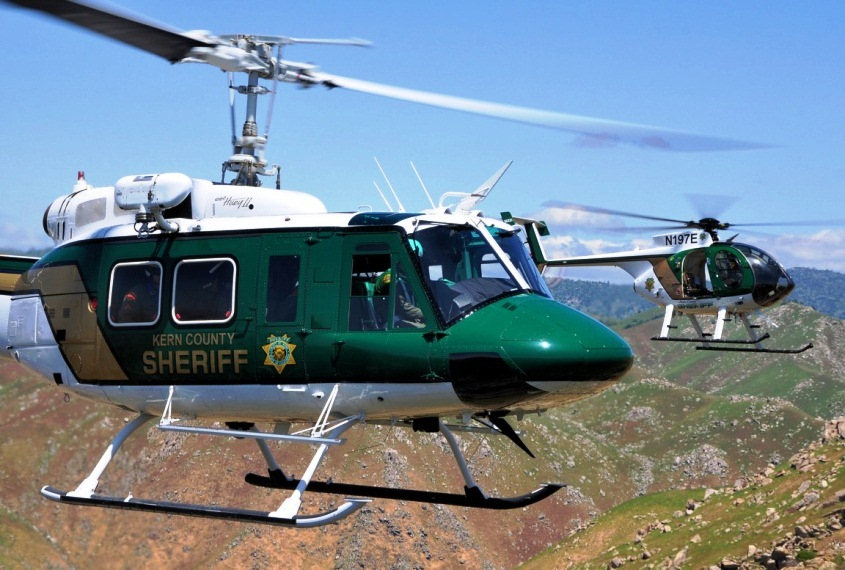 Kern County Sheriff's Helicopter Flying over Mountains