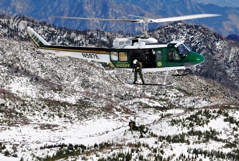 Kern County Sheriff's Helicopter Flying over Snowie Rocky Area